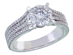 Engagement Rings from the Diamond Bouquets™ - By Memoire - Style #: MBQ96R-0100TW