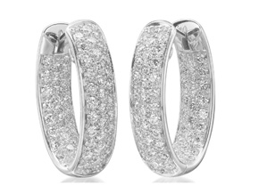 Earrings from the Diamond Hoops - By Memoire - Style #: MVOHE-0250AW