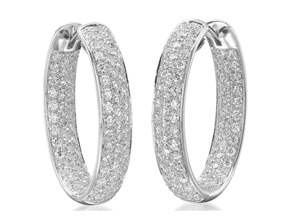 Earrings from the Diamond Hoops - By Memoire - Style #: MVOHE-0350AW