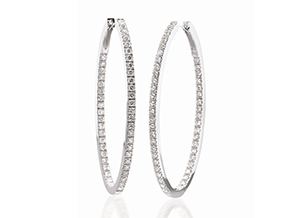 Earrings from the Diamond Hoops - By Memoire - Style #: MXOHLE-0350AW