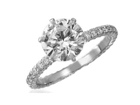 Wedding Rings from the Pétite Prong® - By Memoire - Style #: MSIPH1-0049MPLZ45