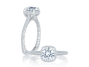 Engagement Rings from the Signature/Quilted™ - By A.JAFFE - Style #: MES747Q-142